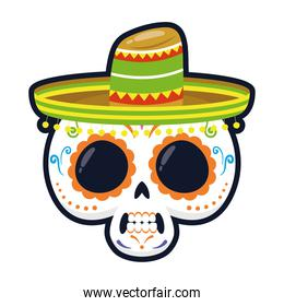 traditional mexican skull with hat head flat style icon