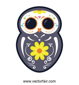 traditional mexican owl skull head flat style icon