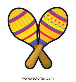 maracas mexican culture flat style icon
