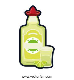 tequila bottle and cup mexican flat style icon