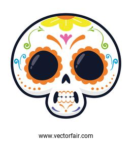 traditional mexican skull head flat style