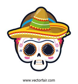 traditional mexican woman skull head with mariachi hat flat style icon