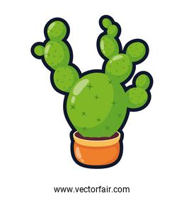 cactus mexican plant in ceramic pot flat style icon
