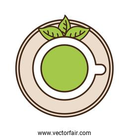 tea cup with leaves line and fill style icon vector design
