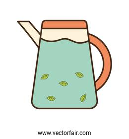 tea kettle with leaves line and fill style icon vector design