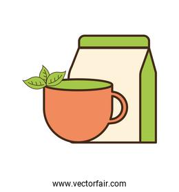tea cup with leaves and bag line and fill style icon vector design