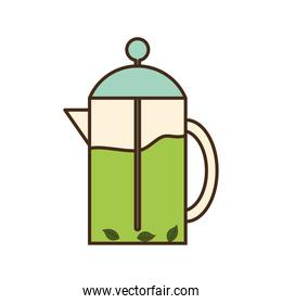 tea pot with leaves line and fill style icon vector design