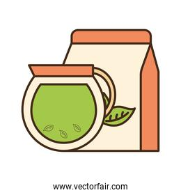 tea pot with leaves and bag line and fill style icon vector design