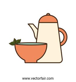 tea cup with leaves and kettle line and fill style icon vector design