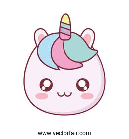 Kawaii unicorn animal cartoon vector design