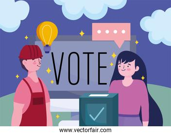 voting and election concept, people online vote computer and box