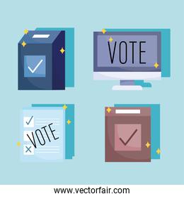 voting and election concept, set icons box computer ballot