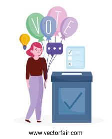 voting and election concept, woman with word vote on balloons and ballot with box
