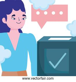 voting and election concept, young woman thinking vote box