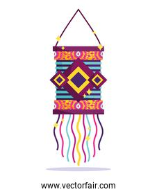happy diwali festival, vibrant color hanging lamp traditional detailed