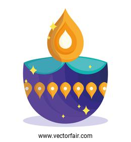 happy diwali festival, diya lamp purple and golden decoration detailed