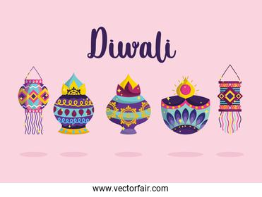 happy diwali festival, festive celebration light with diya lamps and lanterns detailed