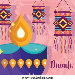 happy diwali festival, diya lamp and lanterns decoration poster detailed