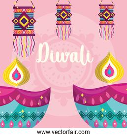 happy diwali festival, diya lamps and hanging lanterns decoration detailed
