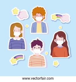 new normal, sticker icons people with medical masks protection