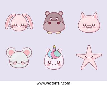 Kawaii animal cartoon icon set vector design