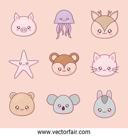 Kawaii animal cartoon set icons vector design