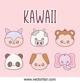 Kawaii animal cartoon set of icons vector design