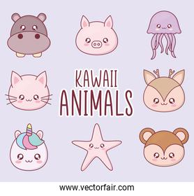 Kawaii animal cartoon symbol set vector design