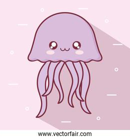 Kawaii jellyfish animal cartoon vector design