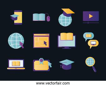Education online icon collection vector design