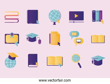 Education online icon bundle vector design
