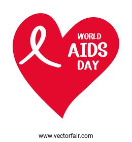 world aids day, ribbon inside red heart card