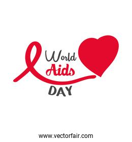 world aids day, lettering handwritten ribbon and heart