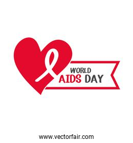 world aids day, awareness ribbon heart banner design