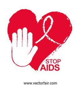 world aids day, stop hand with grunge ribbon and heart