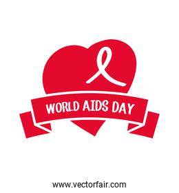world aids day, awareness heart ribbon and banner poster