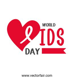 world aids day, lettering red heart and banner