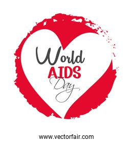 world aids day, heart and grunge badge text design