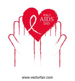 world aids day, hands with grunge red heart with ribbon