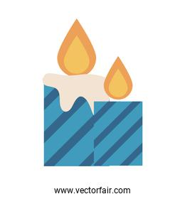 striped candles flame decoration festive flat icon