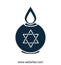 hanukkah, burning candle with star of david celebration silhouette icon