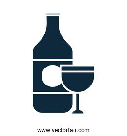 wine bottle and cup liquor celebration party silhouette icon