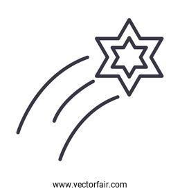 shooting star bright decoration line icon