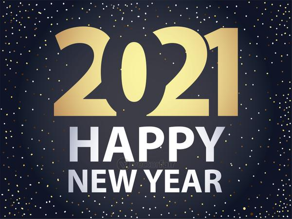 2021 happy new year golden number bright black background card