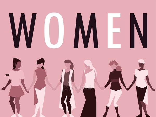 group stand together near the big letters of the word women