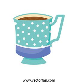 tea, teacup porcelain with dots decoration isolated design