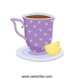 tea, teacup with slice lime on dish beverage isolated design