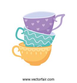 tea, stack of teacups different design isolated design