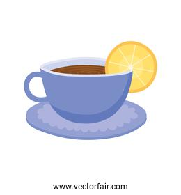tea, teacup with slice lime beverage isolated design