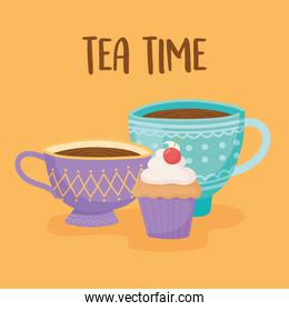 tea, teacups with sweet cupake, yellow background